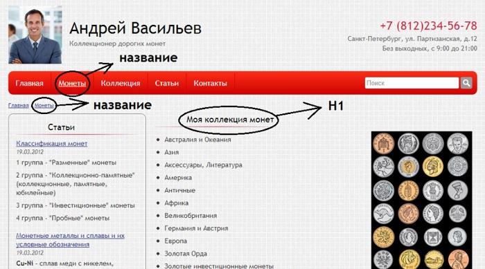 Независимое редактирование заголовков сайта